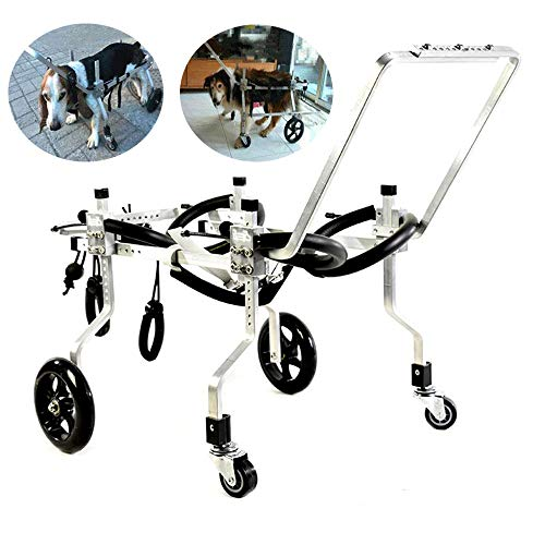 LANGYINH Dog Wheelchair Adjustable 4 Four Wheel Full Support Pet Dog Cart,Disabled Pets Auxiliary Walking Device,Hind Leg Rehabilitation,Fit for Medium Small Pet Dogs Cat,XXS~32