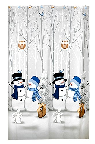 Winter Friends Vinyl Shower Curtain and Matching Hook Set