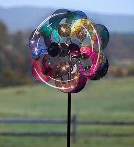 (Plow & Hearth 54345 Gala 4 Blade Solar Powered Outdoor Garden Wind Spinner Sculpture with LED Lights, 24