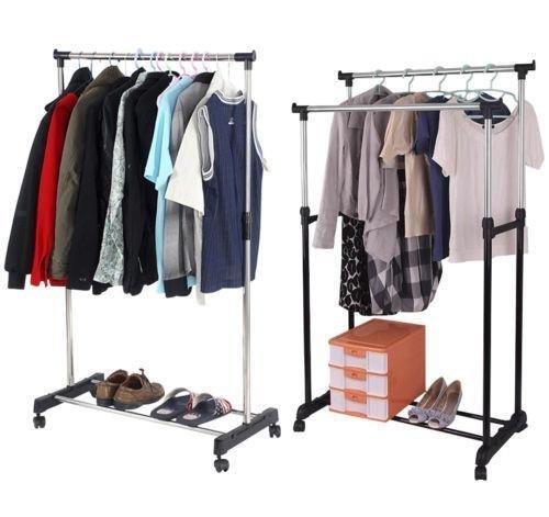 1 Stangen mit Vier Rollen Kleiderstange ausziehbar Yaheetech Stabiler rollbarer Kleiderst/änder Garderobenst/änder