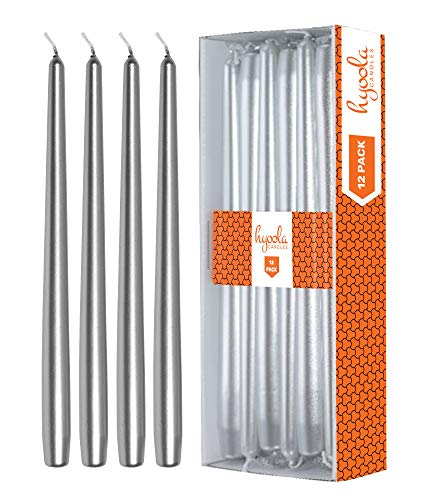 (Hyoola 12 Pack Tall Metallic Taper Candles - 10 Inch Silver Metallic, Dripless, Unscented Dinner Candle - Paraffin Wax with Cotton Wicks)