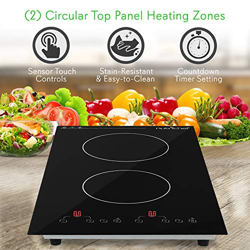 Dual 120V Electric Induction Cooker - 1800w Portable Digital Ceramic Countertop Double Burner Cooktop w/ Countdown Timer - Works w/ Stainless Steel Pan / Magnetic Cookware - NutriChef PKSTIND52 by NutriChef (Image #3)
