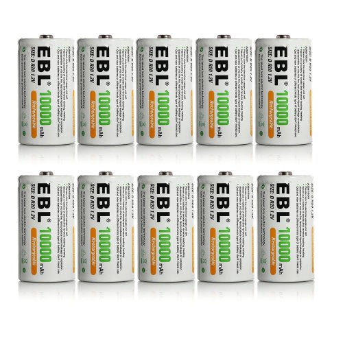 10-Pack-EBL-D-Size-D-Cell-10000mah-High-Capacity-High-Rate-NiMH-Rechargeable-Batteries
