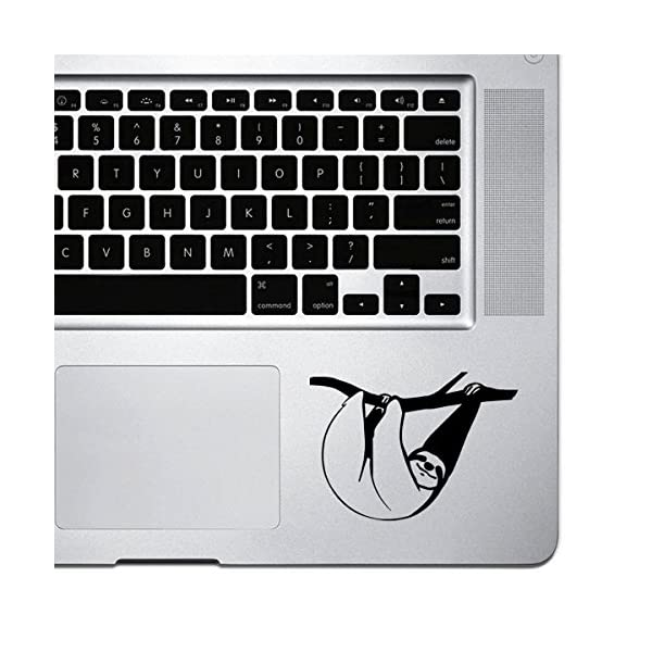 Stickany Palm Series Sloth Hanging Sticker For Macbook Pro, Chromebook, And Laptops (Black) -