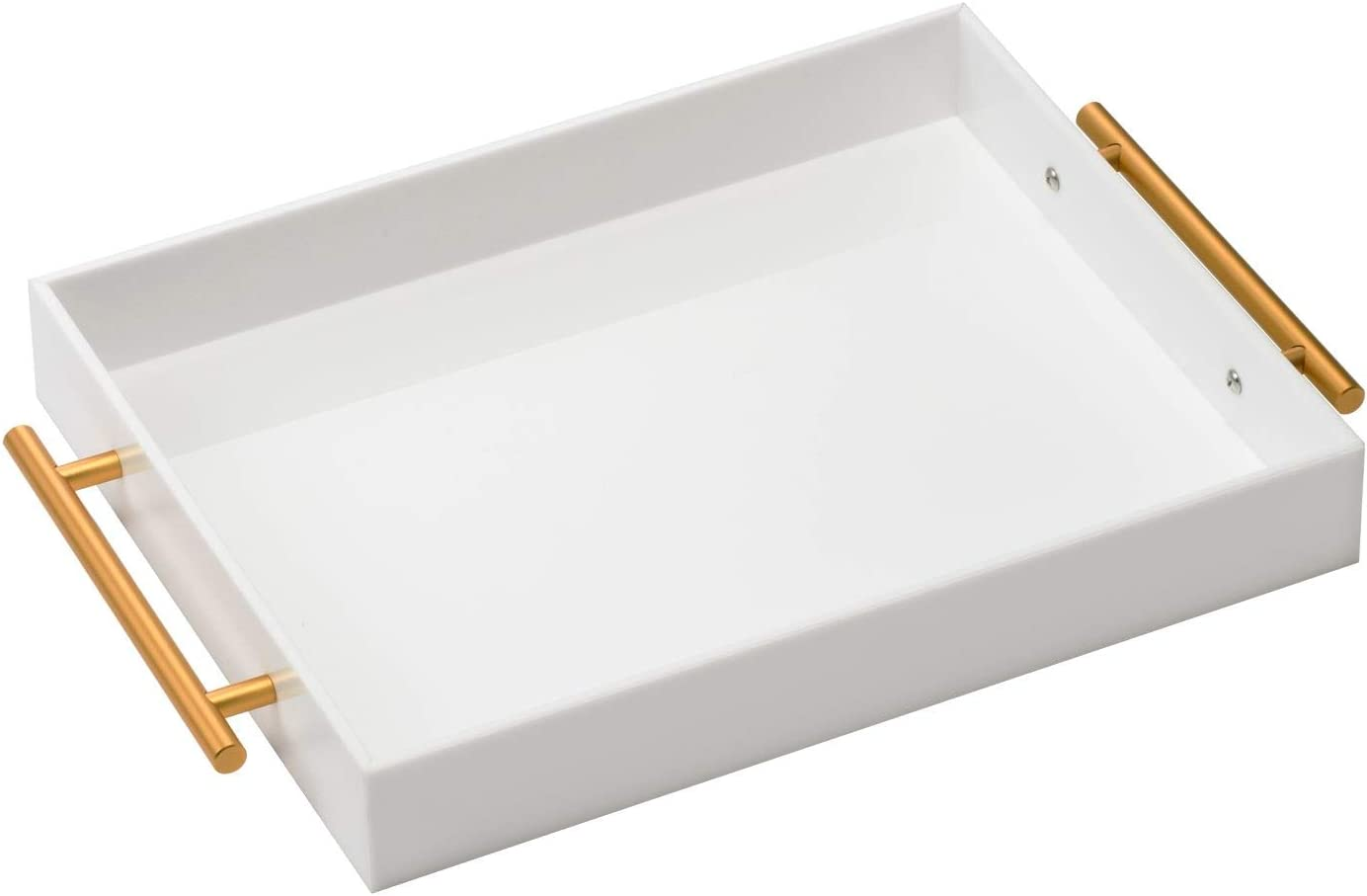 White Acrylic Lucite Serving Tray with Metal Handles,11x14 Inch,Decorative Storage Organizer with Spill-Proof Design,Serving for Coffee,Breakfast,Dinner and More