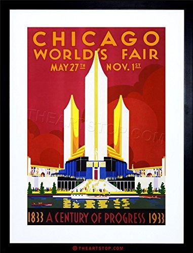 VINTAGE AD WORLD FAIR CHICAGO 1933 CENTENNIAL USA FRAMED PRINT (Chicago Worlds Fair Framed Art)