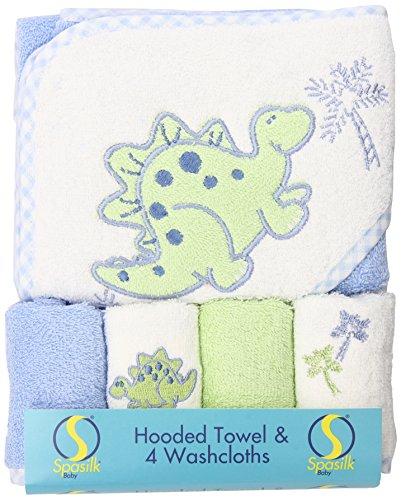 Spasilk 100% Coton Serviette de bain avec capuche Terry 4 débarbouillettes-Dinosaur Bleu / Vert