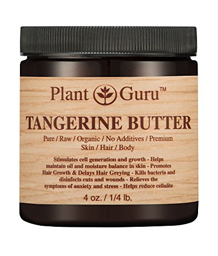Tangerine Body Butter 4 oz. 100% Pure Raw Fresh Natural Cold Pressed. Skin Body and Hair Moisturizer, DIY Creams, Balms, Lotions, Soaps.