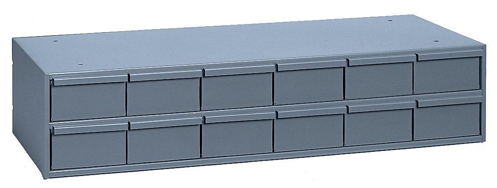 "Durham 013-95 Gray Cold Rolled Steel Storage Cabinet, 33-3/4"" Width x 7-3/8"" Height x 11-5/8"" Depth, 12 Drawer"
