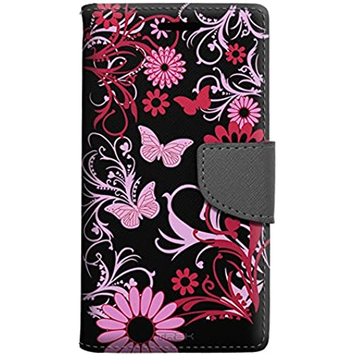 Samsung Galaxy S7 Edge Wallet Case - Pink Butterfly on Black Case Sales