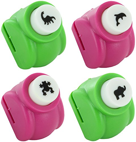 Paper Punch Shapes Animals: Dinosaur Frog Elephant Whale - Set of 4 Punches Scrapbooking Craft Supplies (Animal Shaped Hole Punch)