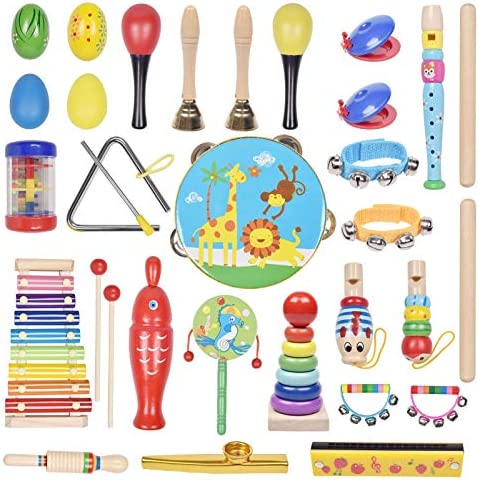MUSICAL INSTRUMENT TOYS SET FOR KIDS, 35-PCS MUSICAL TOYS FOR TODDLERS PRESCHOOL EDUCATIONAL, WITH STORAGE BAG FOR CHILDREN, TAMBOURINE, MUSIC BELL & MORE