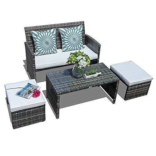 Orange Casual 4 Pieces Outdoor Wicker Loveseat Sofa Furniture Set with Ottoman & Glass Coffee Table Cushioned Seat Lounge Chair Rattan Couch for Patio, Backyard, Poolside