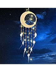 welltop Dream Catcher, Handmade LED Moon Dream Catchers, Wooden Beads White Feather Moon Dreamcatcher for Wall Hanging Decor, Bedroom Kids, Home Decoration, Art Ornament Craft Blessing Gift