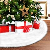 Ohuhu 35.4' White Plush Christmas Tree Skirt, Snow White Faux Fur Handmade Tree Decorations for Xmas Indoor Outdoor Home Party Decor