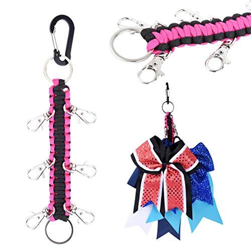 DEEKA Paracord Handmade Cheer Bows Holder for Cheerleading Teen Girls High School College Sports - Hot Pink/Black -