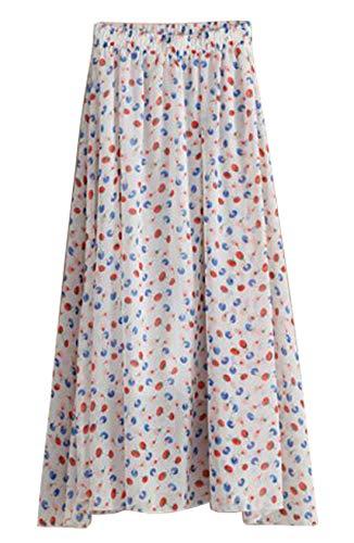 Elastic Woven Skirt Waist (Chartou Woman's Flowy High Elastic Waist Floral Print Pleated Chiffon Summer Skirts (One Size, White Cherry))