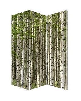 Bon Paravent En Bois De Bouleau Avec Canvas : H 180 Cm L : 120 Cm (
