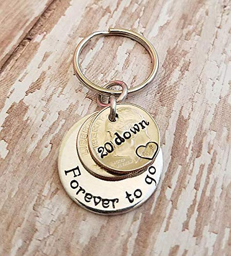 20 Down Forever To Go with Two 1999 Dimes Key 20th Chain Anniversary Gift for Him or Her