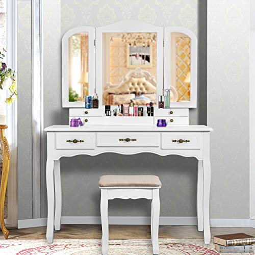 YOUKE Vanity Set, Tri-Folding Necklace Hooked Mirror, 7 Drawers, Makeup Dressing Table with Cushioned Stool Easy Assemble - Bedroom Vanity