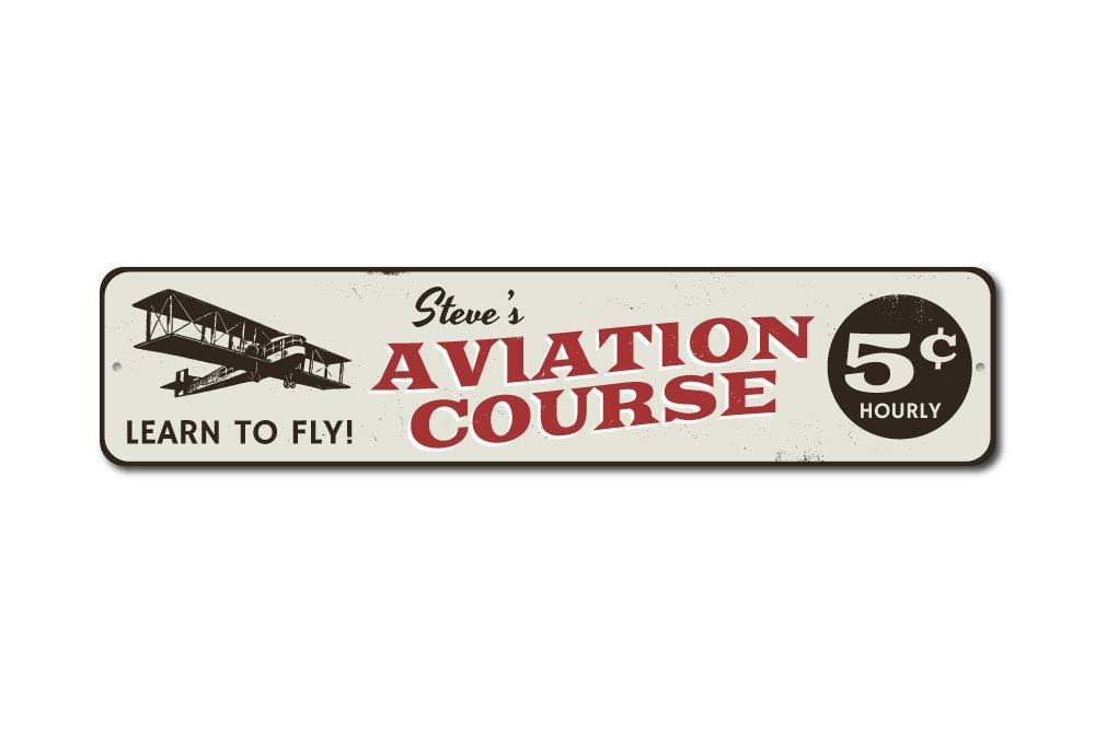 Curso de aviación 5 Centavos Sign, personalizado avión Pilot nombre regalo, personalizado aprender a volar Plane Man Cave Decor – Calidad – de aluminio 4