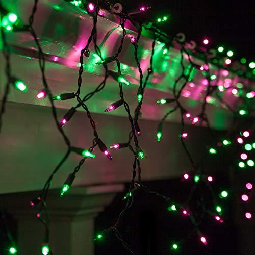 Green Halloween Icicle Lights - Kringle Traditions 150 Purple/Green Mini Icicle