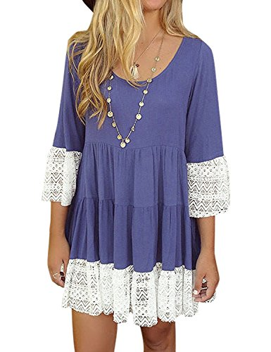 3/4 Shorts Sleeve Short Sleeve - Luvamia Women's Casual A Line 3/4 Bell Sleeves Crochet Short Pleated Dress Purple US 4