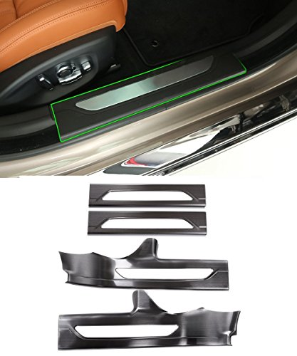Black Stainless Inside Door Sill Scuff Threshold Plate Cover Trim For Jaguar XFL 2017 2018 by METYOUCAR