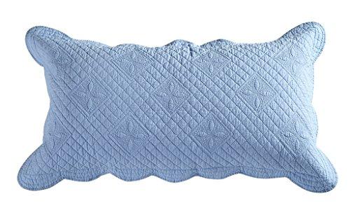 Blue Pillow Sham (Calla Angel CASPCTKLB_SGDN Sage Garden Luxury Pure Cotton Quilted Pillow Sham,Light Blue,King)