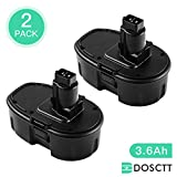 [Upgraded to 3600mAh]Dosctt DC9096 3.6Ah Ni-MH Replace for Dewalt 18V Battery DC9099 DC9098 DW9099 DW9096 DW9098 DC9181 Cordless Drill High Capacity Pack of 2