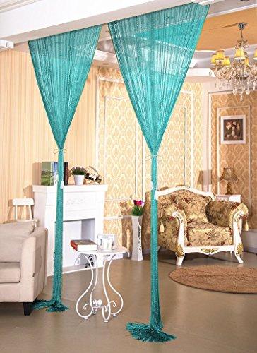 Glitter String Curtain Panel ,Window Panel Room Divider Strip Tassel for Wedding Coffee House Restaurant(Tiffany Blue) (Tiffany Blue Curtain Panels)