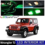 LEDpartsNow 2000-2006 Jeep Wrangler TJ LED Interior Lights Accessories Replacement Package Kit (8 Pieces), GREEN