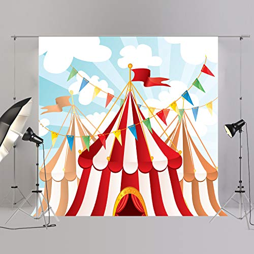 JOYPARK Circus Tent Flag Banner Photo Studio Background for Birthday Party Kids Newborn Baby Photocall Photo Booth Circus Themed Photography Backdrop -