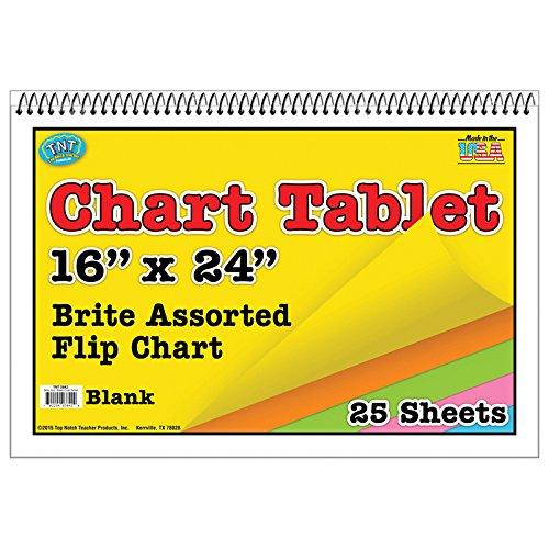 Top Notch Teacher TOP3842BN Chart Tablet 16X24 Assorted Blank, MultiPk 3 Each by Top Notch Teacher