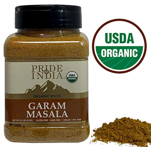 Pride Of India - Organic Garam Masala Ground - 8 oz (227 gm) Large Dual Sifter Jar - Certified Pure & Vegan Indian Blend Spice - Perfect Seasoning for Culinary Use - Offers Amazing Value for Money ()