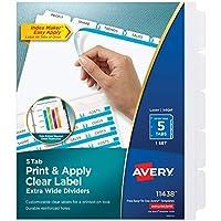 Divisores de carpetas extra anchas Avery de 5 pestañas, Easy Print y Apply Clear Label Strip, Index Maker, Blanco, 1 juego (11438)