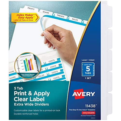 Avery 5-Tab Extra Wide Binder Dividers, Easy Print & Apply Clear Label Strip, Index Maker,White, 1 Set (11438) - Sheet Tabbed Protectors