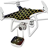 MightySkins Protective Vinyl Skin Decal for DJI Phantom 4 Quadcopter Drone wrap cover sticker skins Primary Honeycomb