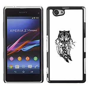 For Sony Xperia Z1 Compact / Z1 Mini / D5503 Case , Wolf Indian Dream Catcher White Native - Diseño Patrón Teléfono Caso Cubierta Case Bumper Duro Protección Case Cover Funda