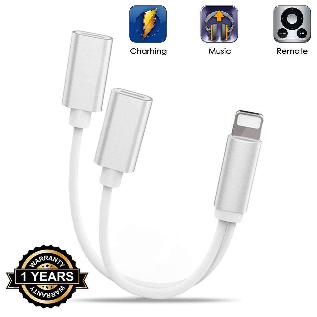 DAEETO Adaptador de Conector para Auriculares iPhone / 8 / X / 7 Plus / 8 Plus Cargador a Adaptador Auxiliar de [Música + Carga + Control de Volumen] ...