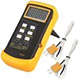 Signstek 3 1/2 6802 II Dual Channel Digital Thermometer 1300°C 2372°F with 2 K-Type Thermocouple Sensor Probe