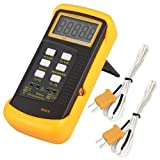 Signstek 3 1/2 6802 II Dual Channel Digital Thermometer 1300°C 2372°F with 2 K-Type Thermocouple...