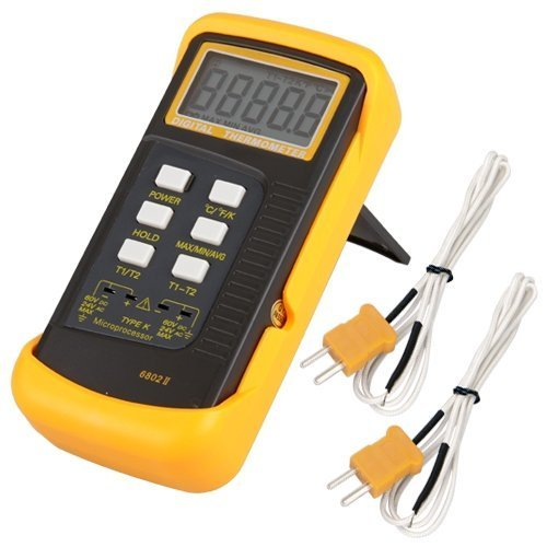 Signstek 3 1/2 6802 II Dual Channel Digital Thermometer 1300°C 2372°F with 2 K-Type Thermocouple Sensor (Read Type)