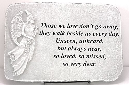 Kay Berry Those We Love Don't Go Away Memorial Stone Sympathy Gift Angel; 10×15 NB;Stand Included