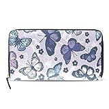Womens Wallets Unisex Butterflys Passport Long Purses Zip Around Leather Clutch Handbag