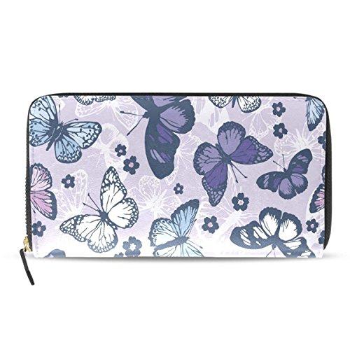 Womens Wallets Unisex Butterflys Passport Long Purses Zip Around Leather Clutch Handbag by HangWang
