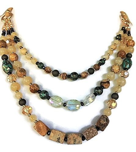 Modern Beaded Necklace Earrings - 3