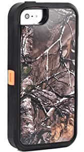 Huaxia Datacom Heavy Dtuy Shockproof Dirtproof Defender Military Hybrid Impact Case for Apple iPhone 5S (not for iPhone 5/5C) - Camoflage Branch on Orange Core by Maris's Diary