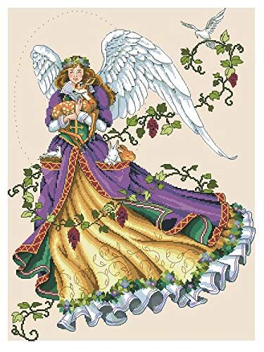 Zamtac Gold Collection Counted Cross Stitch Kit Guardian Angel and Deer Dove Goddess dim 03820 3820 - (Cross Stitch Fabric CT Number: 18CT unprint Canvas)
