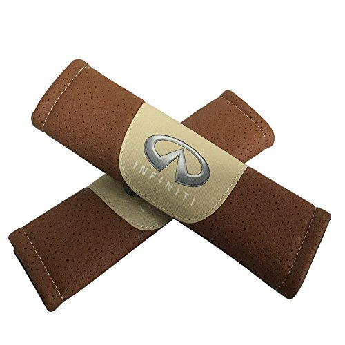 Jimat 2pcs Infiniti Logo Brown Leather Car Seat Safety Belt Strap Covers Shoulder Pad Accessories Fit For Infiniti Q50 Q60 Q70 QX30 QX50 QX60 QX70 QX80